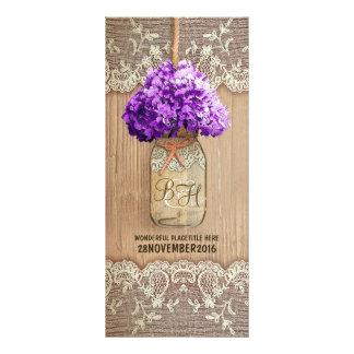hydrangea mason jar rustic wedding programs purple
