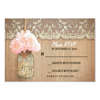 hydrangea mason jar rustic wedding RSVP cards