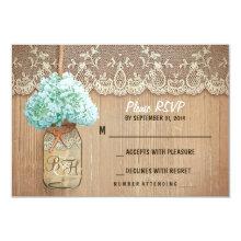 """hydrangea mason jar rustic wedding RSVP cards 3.5"""" X 5"""" Invitation Card"""