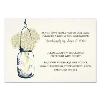 Hydrangea & Mason Jar  Wedding Information Card