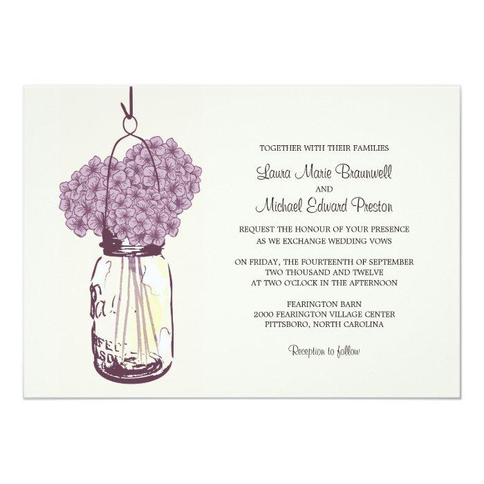 Hydrangea & Mason Jar Wedding Invitations