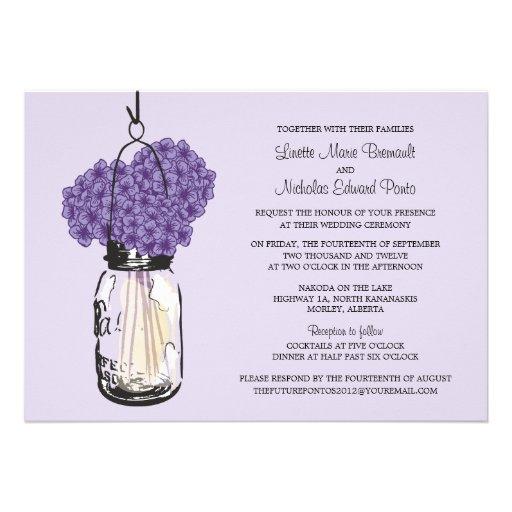 "Hydrangea & Mason Jar Wedding Invitations 5"" X 7"" Invitation Card ..."