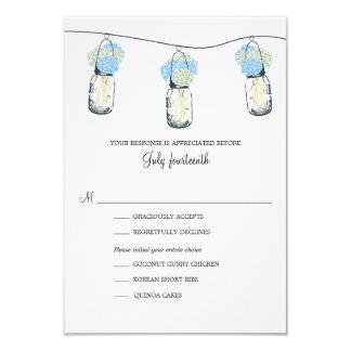 Hydrangea & Mason Jar Wedding RSVP Card