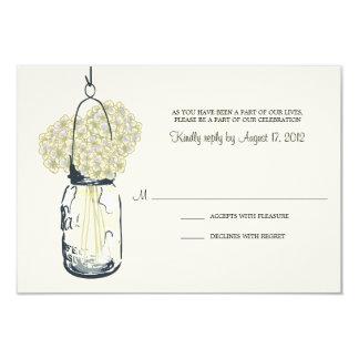 Hydrangea & Mason Jar Wedding RSVP Personalized Invitations