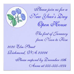 hydrangea new years day open house invitation