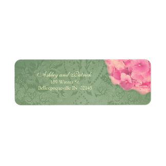 Hydrangea on Baroque Texture Adress Label