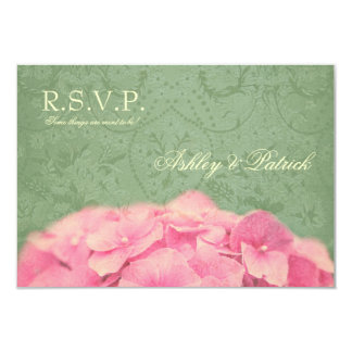Hydrangea on Baroque Texture RSVP Card