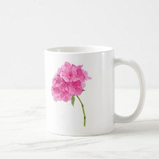 hydrangea on black and white coffee mug