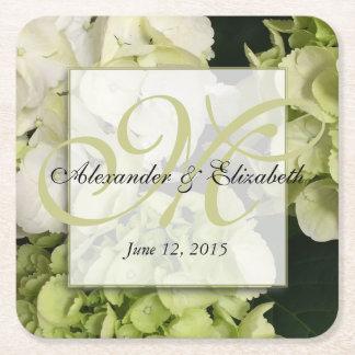 Hydrangea Personalized Monogram Wedding Square Paper Coaster
