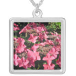 Hydrangea. Pink Flowers. Necklaces