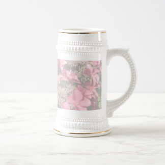 Hydrangea. Pink flowers. Soft Pastel Colors. Beer Stein