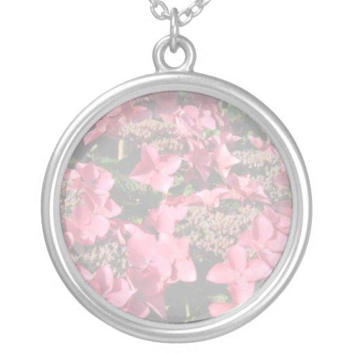 Hydrangea. Pink flowers. Soft Pastel Colors. Custom Necklace