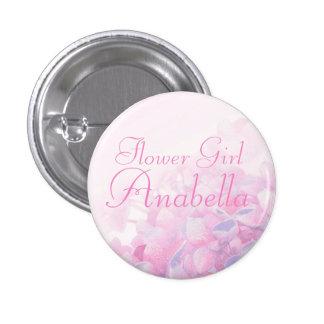 Hydrangea pink purple flower girl wedding pin