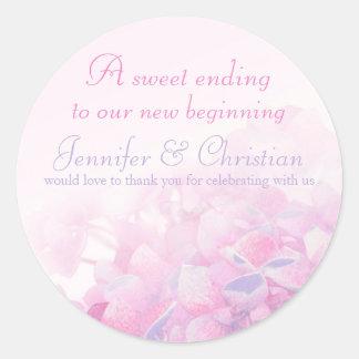 Hydrangea pink purple wedding candy stickers