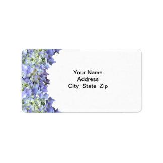 Hydrangea púrpura etiqueta de dirección