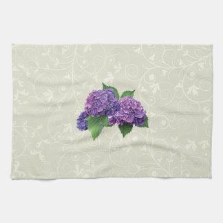 Hydrangea púrpura toallas de mano