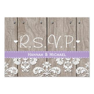 Hydrangea púrpura rústico que casa la tarjeta de invitación 8,9 x 12,7 cm