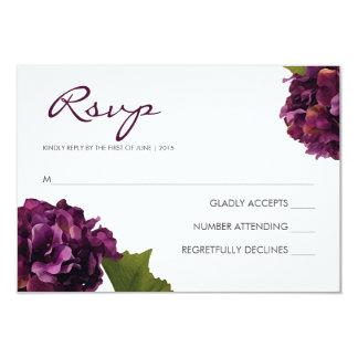 """Hydrangea púrpura - tarjeta de la respuesta de invitación 3.5"""" x 5"""""""