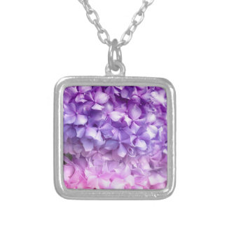 Hydrangea Rainbow Silver Plated Necklace