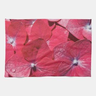 Hydrangea rojo toalla de cocina