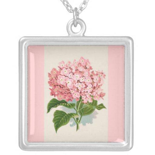 Hydrangea rosado del vintage colgante cuadrado