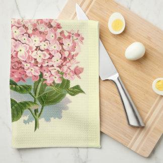 Hydrangea rosado del vintage toalla