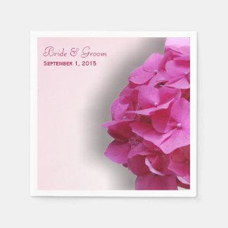 Hydrangea rosado que casa las servilletas de papel