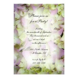 Hydrangea rosado toda la invitación del fiesta de