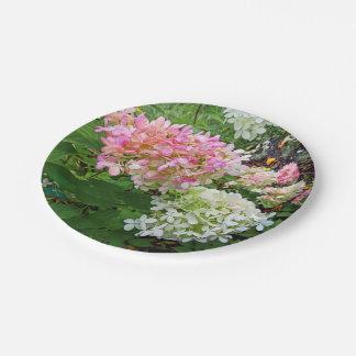 Hydrangea rosado y blanco delicado platos de papel