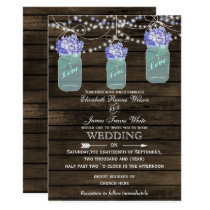 hydrangea Rustic mason jar wedding invitations
