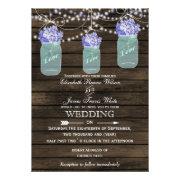 Rustic Barnwood,dangling string lights blue hydrangea in a mason jar  wedding invites by mgdezigns