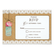 hydrangea Rustic mason jars wedding RSVP 3.5 x 5 Card