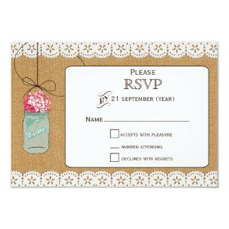 hydrangea Rustic mason jars wedding RSVP 3.5 x 5 Card