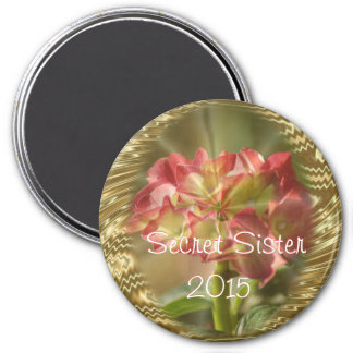 Hydrangea Secret Sister Magnet- or any occasion 3 Inch Round Magnet