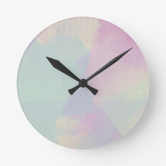 Hydrangea Series Watercolor Abstract Opal Round Clock
