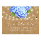 Hydrangea & String Lights Burlap Save the Date Postcard