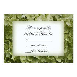 """Hydrangea verde RSVP que se casa floral de Invitación 3.5"""" X 5"""""""