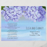 """Hydrangea watercolor floral wedding folded program<br><div class=""""desc"""">Outstanding hydrangea flowers wedding ceremony and party program. Beautiful blue hortensia flowers on lavender purple and blue watercolor background adorn this folded wedding program. You will have to fold it in the center. Choose only this type of paper-value as it folds well.</div>"""