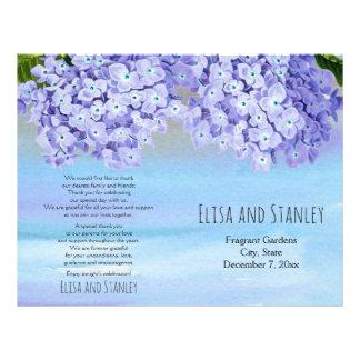 Hydrangea watercolor floral wedding folded program flyer