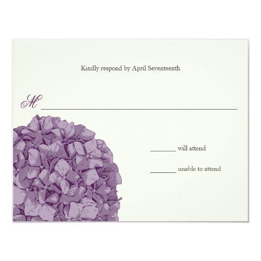 "Hydrangea Wedding Response 4.25"" X 5.5"" Invitation Card"