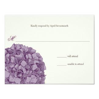 Hydrangea Wedding Response 4.25x5.5 Paper Invitation Card