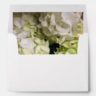 Hydrangea White Green Wedding Suite Envelope