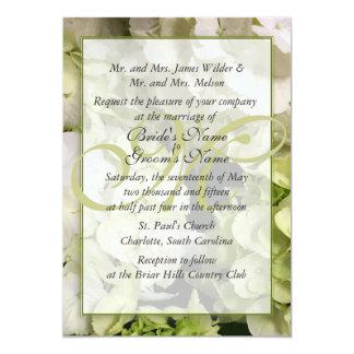 Hydrangea White Green Wedding Suite 5x7 Paper Invitation Card