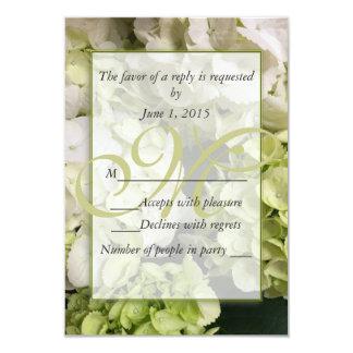 Hydrangea White Green Wedding Suite 3.5x5 Paper Invitation Card