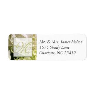 Hydrangea White Green Wedding Suite Return Address Label