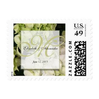Hydrangea White Green Wedding Suite Postage