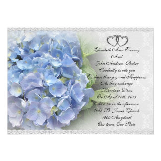 Hydrangea y cordón de la invitación del boda