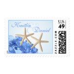 Hydrangea y estrellas de mar azules sellos