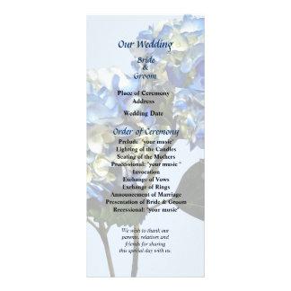 Hydrangea y hojas de dos azules que casan programa tarjetas publicitarias personalizadas