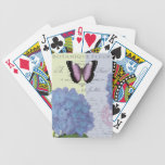 hydrangea y mariposa modernos del vintage cartas de juego
